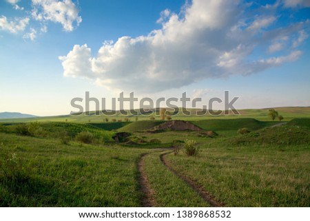 Beautiful spring and summer landscape. Lush green hills, high snowy mountains. Country road. Background for tourism and travel. #1389868532