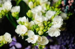 Beautiful spring bouquet of white freesia in the transparent wrapping paper in the blurred background in the flower shop