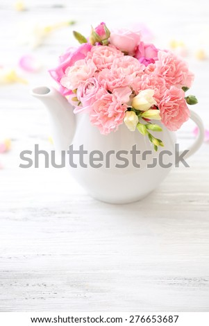 White Peonies In Vase On Wood Background Selective Focus Ez Canvas