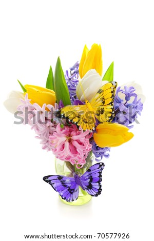 Beautiful spring flowers with decorative butterflies isolated on white background