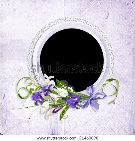 beautiful spring frame with purple and white flowers
