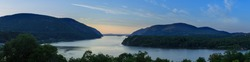Beautiful Spring panorama looking up the Hudson River from Trophy Point at West Point