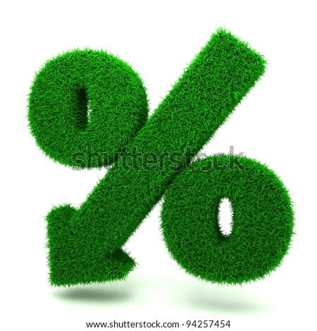 Beautiful Spring Percent Sign from Grass  Denoting a Decrease