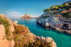 Beautiful spring scenery. Adorable summer view of Santa Elia cape with Zafferano mountain on background. Tranquil water bay on Sicily, Palermo city location, Italy, Europe.