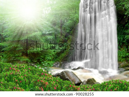 beautiful spring waterfalls