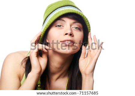 beautiful spring-woman on white background