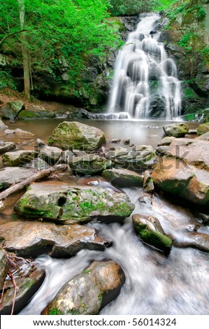 Beautiful Spruce Flat Falls in Great Smoky Mountains National Park after the spring rains