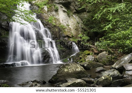 Beautiful Spruce Flat Falls in Great Smoky Mountains National Park, after the spring rains. On the border of North Carolina and Tennessee.