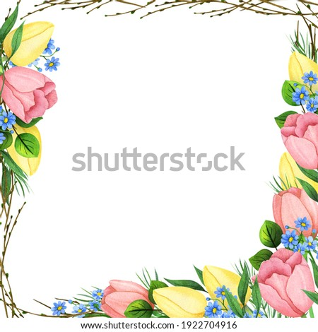 Beautiful Square Floral Frame Watercolor Spring Handpainted Flowers Tulip Daffodil Colorful for cards, wedding, 8th of march, Mother's day Borrder fot IG Stock fotó ©