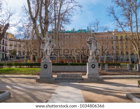 Beautiful Square in Madrid - The Plaza De Oriente at Royal Palace - MADRID / SPAIN - FEBRUAR 21, 2018 #1034806366