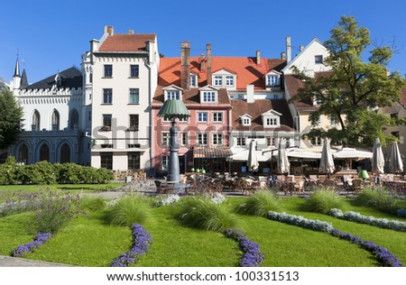 Beautiful square in old city of Riga, capital of Latvian republic, Europe