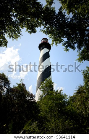 Beautiful St. Augustine Lighthouse framed by green trees with blue skies and white puffy clouds