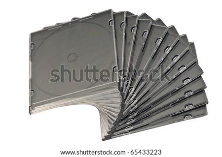 Beautiful stack of disc cases isolated on white background. top view.