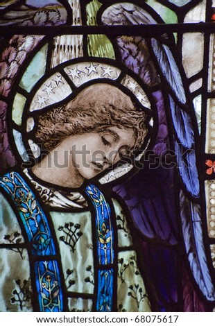 Beautiful stained glass window detail of Saint Peter