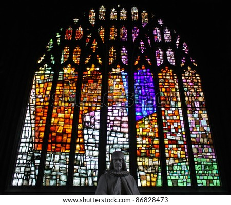 Beautiful stained glass window of Manchester Cathedral.