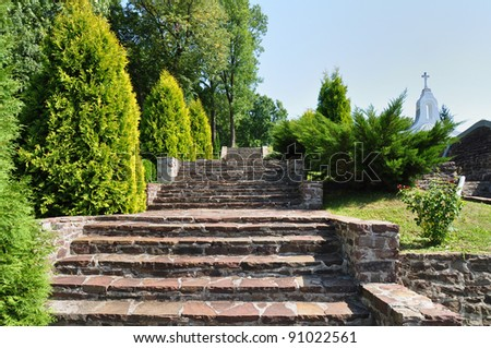 Beautiful stairs in garden, Jazlowiec (Yazlovets) Castle, Ukraine