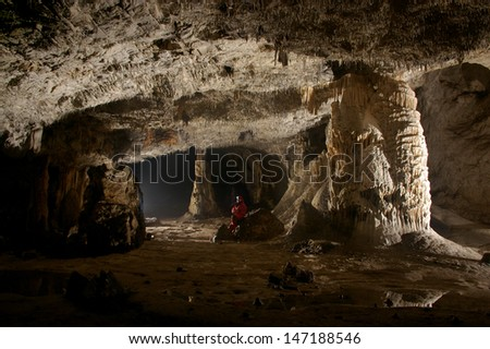Beautiful stalactites in a cave