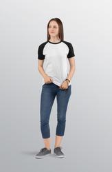 Beautiful standing woman female model wearing white and black plan raglan t shirt in blue denim capri pant