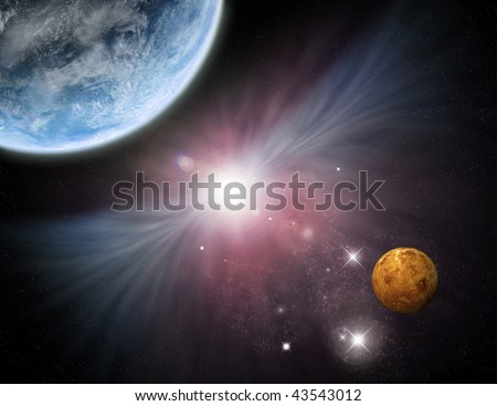 Beautiful star field with planets and nebula - fictional space/scifi scene.