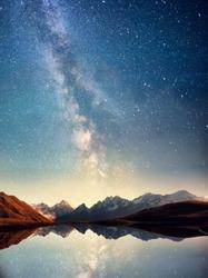 Beautiful starry sky over lake in the mountains. Svaneti, Georgia, Europe