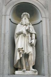 Beautiful statue of Leonardo Da Vinci outside of the Uffizi Gallery florence , Famous Italian artist and sciencetists  in renaissance period
