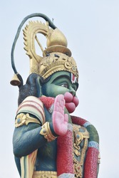 BEAUTIFUL STATUE OF LORD HINDU GOD HANUMAN  WHOSE DEVOTEE OF LORD RAMA
