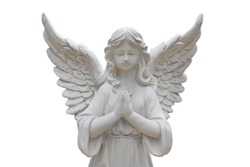 Beautiful statue of the angel praying isolated on white background