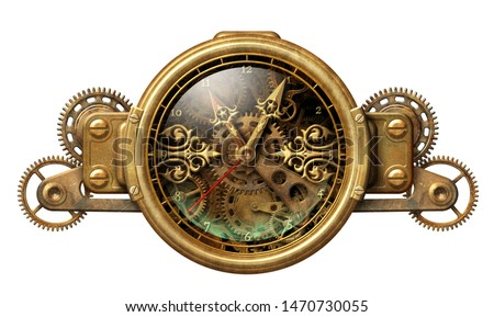 Beautiful steampunk clock with aged metal frame and intricate clockwork 3D illustration