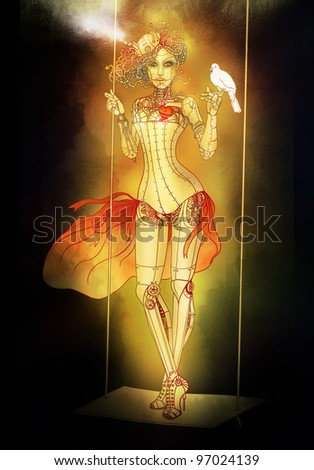 Beautiful steampunk mechanical girl with dove in her hand. Raster illustration