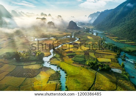 Beautiful step of rice terrace paddle field in sunset and dawn at Trung Khanh, Cao Bang.  Cao Bang is beautiful in nature place in Vietnam, Southeast Asia. Travel concept. Near Mu Cang Chai and sapa #1200386485