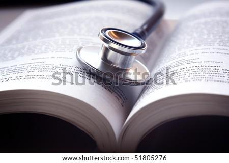 Beautiful stethoscop on book