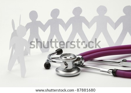 Beautiful stethoscope with paper people
