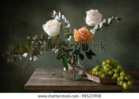 Beautiful still life with a bouquet of roses