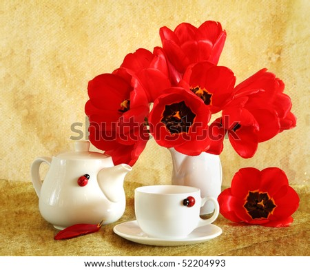 Beautiful still life with red tulips