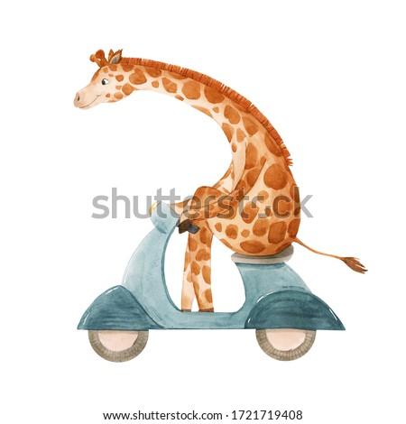 Beautiful stock illustration with cute watercolor giraffe on motorbike. Baby hand drawn painting.