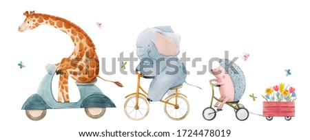 Beautiful stock illustration with watercolor hand drawn cute animals on transport.