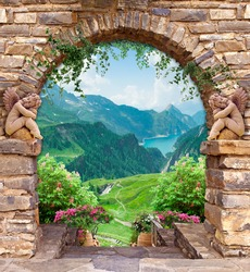 beautiful stone arch with angels and flowers