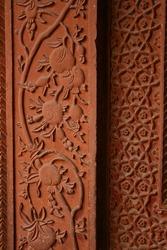 Beautiful stone carvings of an abandoned Fatehpur Sikri, world heritage ancient palace near agra uttarpradesh in India, Rajasthan region