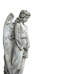 beautiful stone sad angel. grieving angel statue on white background. condolence, mourning card or obituary. Religion, faith, death, resurrection, eternity concept.