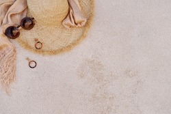 beautiful straw hat lies on the ground