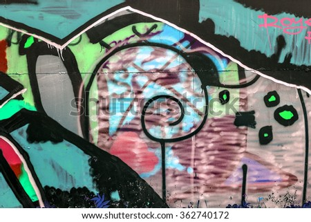 Beautiful street art graffiti. Abstract creative drawing fashion colors on the walls of the city. Urban Contemporary Culture #362740172