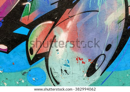 Beautiful street art graffiti. Abstract creative drawing fashion colors on the walls of the city. Urban Contemporary Culture #382994062