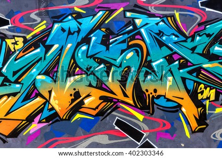 Stock Photo Beautiful street art of graffiti. Abstract color creative drawing fashion on walls of  city. Urban contemporary culture. Title paint on walls. Culture youth protest. ABSTRACT PICTURE