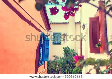 beautiful street in athens ...