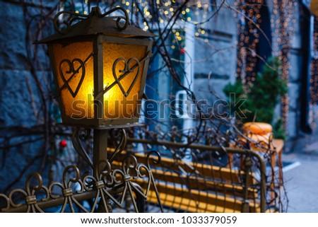 Beautiful street lanterns illuminated at night #1033379059