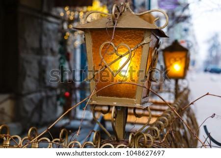 Beautiful street lanterns illuminated at night #1048627697