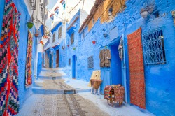 Beautiful street of blue medina in city Chefchaouen,  Morocco, Africa