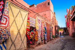 Beautiful street of old medina in Marrakech, Morocco, Africa