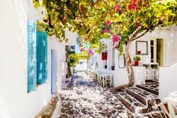 Beautiful street on Paros Island, Greece