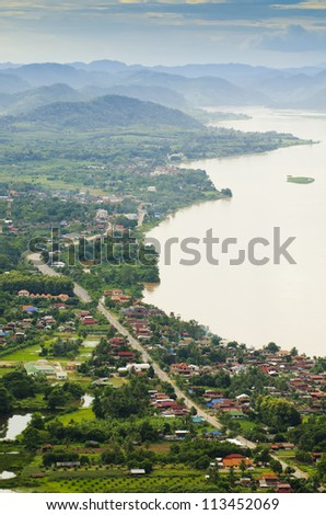 Beautiful street view along Mekong river from above - stock photo
